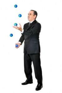 man juggling several mlm businesses
